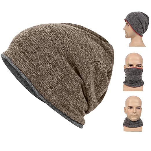 ccb006da Multifunctional 3 In 1 Classic Plain Baggy Skull Cap Slouchy Beanie  Fall/Winter Warm Hat