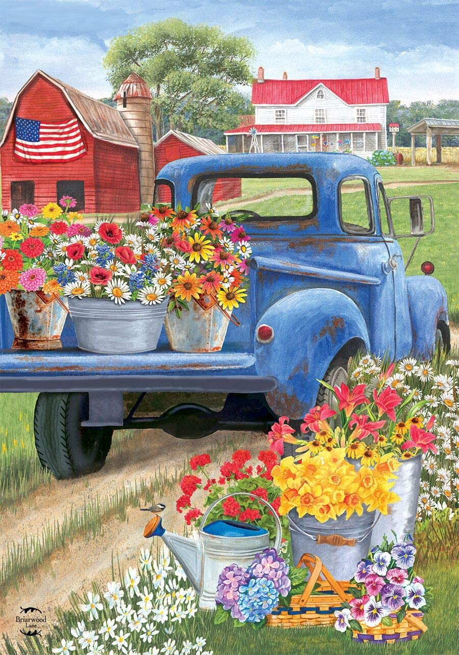 """Briarwood Lane Day On The Farm Spring Garden Flag Pick-up Truck Floral 12.5""""x18"""""""