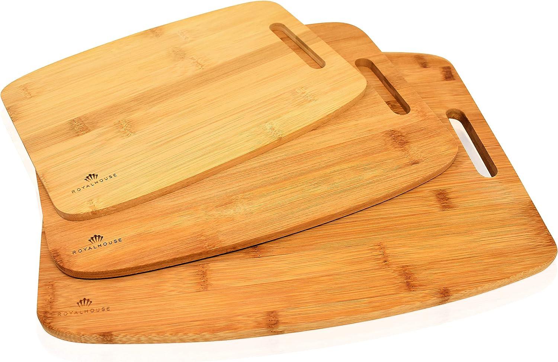 Premium Bamboo Cutting Board Set of 3, Wooden Chopping Board Kitchen Cutting Board.