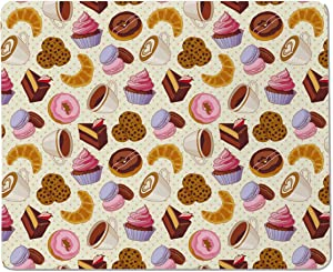 Yeuss A Food Junkie Office Desktop Decorative Mouse Pad Coffee Shop Theme Image with Cup Biscuit Cake Chocolate Artwork Non Slip Gaming Mousepad 200mm X 240mm