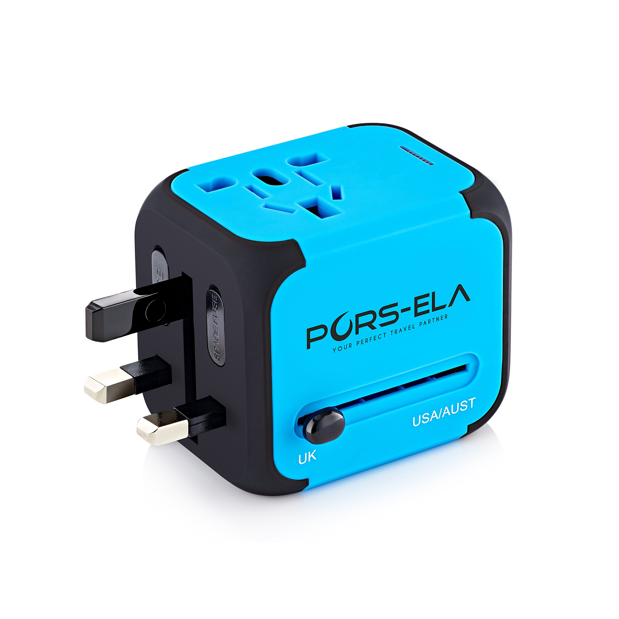 Travel Adapter, International Power Adapter with 2-Port USB Wall Charger & European UK US AU Plugs, Built-in Spare Safety Fuse, Gift Pouch - Blue