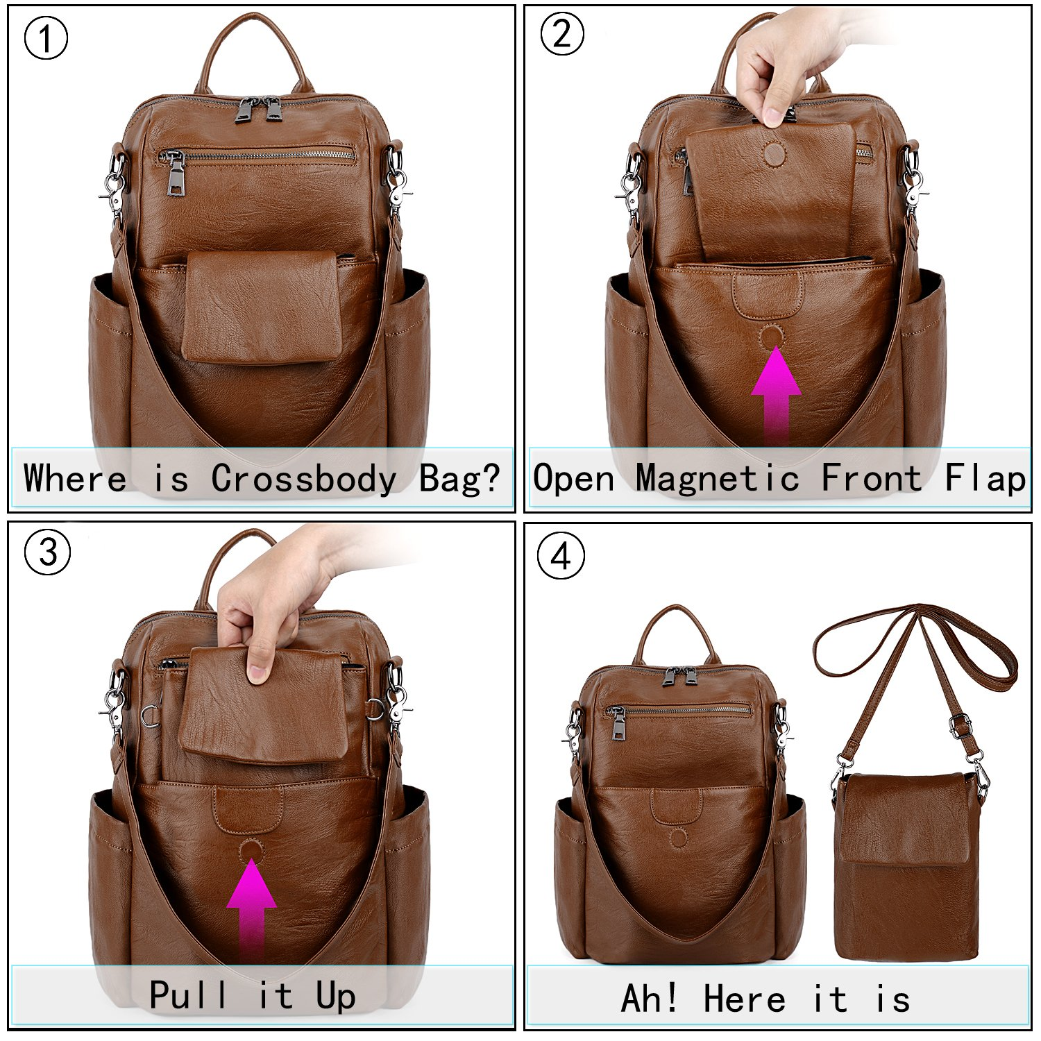 UTO Women Backpack Purse PU Washed Leather Ladies Rucksack Detachable Crossbody Shoulder Bag B Brown by UTO (Image #2)