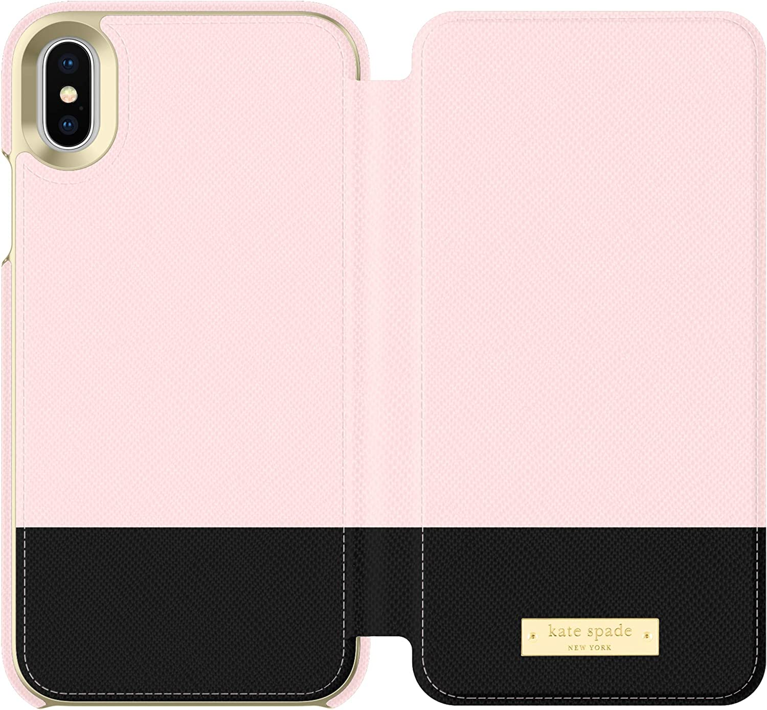 kate spade new york Rose Quartz/Black Color Block Folio Case for iPhone X/XS - Saffiano Leather ID & Card Holder, KSIPH-083-CBRQB