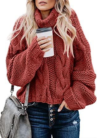 FARYSAYS Women's Cable Knit Turtleneck Long Sleeve Oversize Chunky Pullover  Sweater Outerwear at Amazon Women's Clothing store