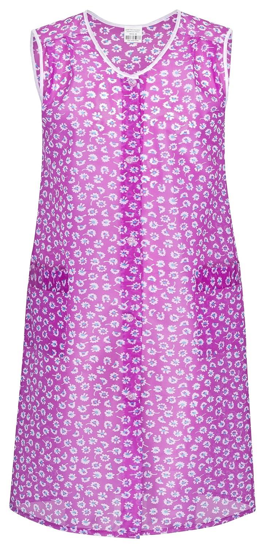 Kittelsch�rze pink-lila bunt mit Knopfleiste