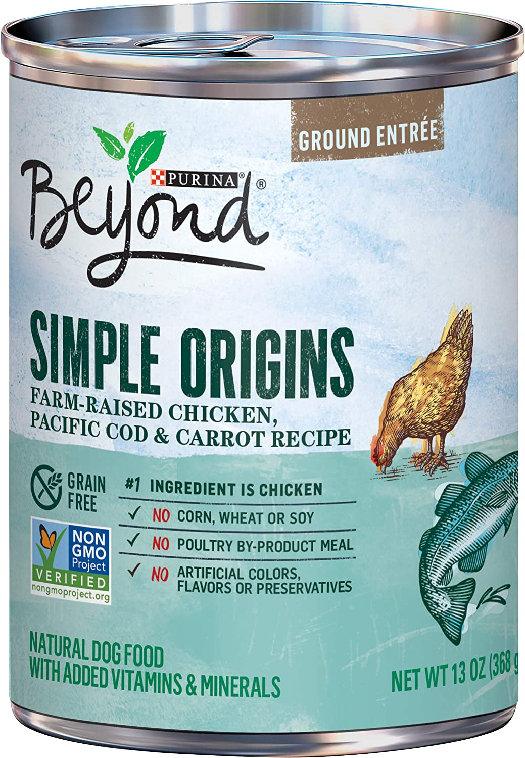 Purina Beyond Grain Free, Natural Pate Wet Dog Food, Simple Origins Chicken& Cod Recipe - (12) 13 oz. Cans