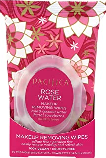 product image for Pacifica Beauty Makeup Removing Wipes with Rose & Coconut Water for All Skin Types(Vegan & Cruelty-Free), Rose Water, 30 Count