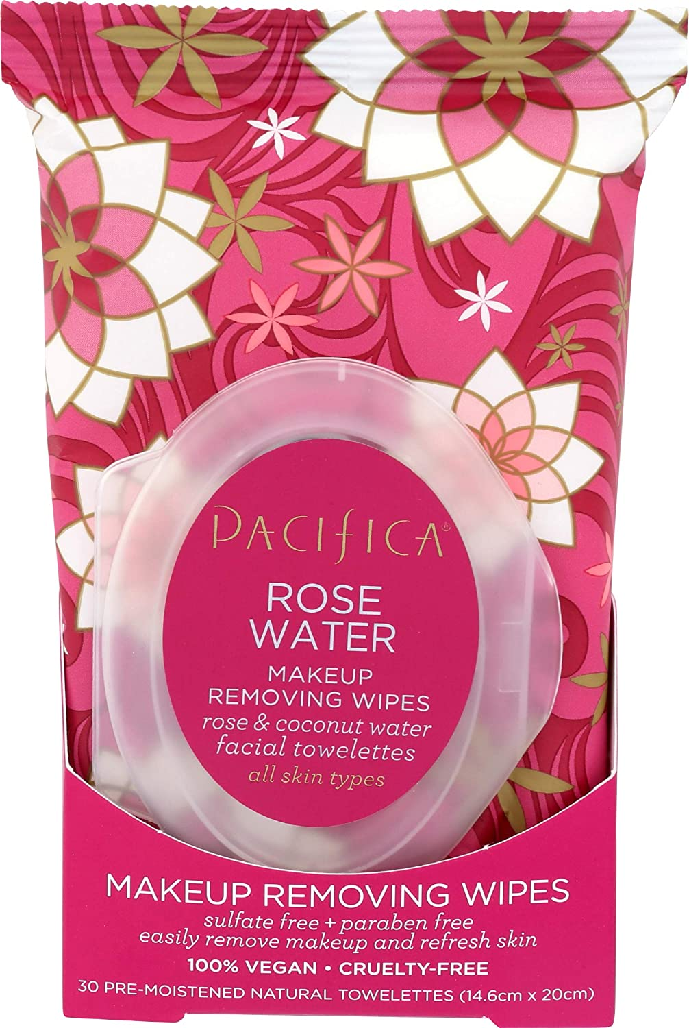 Pacifica Beauty Rose Water Makeup Removing Wipes, 30 Count