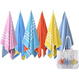Microfiber Beach Towel & Canvas Beach Bag - Two Tone (2in1) Quick Dry Towel/ Blanket, Lightweight & Compact, Sand-free (160cm x 80cm / 63 x 31 inches) with an oversized ultra-light Canvas beach bag, Perfect for:the beach, pool, gym, travel, yoga, camping, summer festivals, and Gift