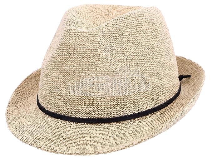 2ec3ce6c Simplicity Foldable Fedora Hat Men & Women's Short Brim Roll up Sun  Hat,Natural