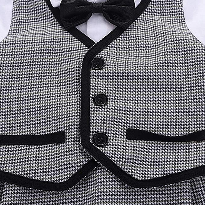 YANN Baby Boy Gentleman Suit Toddler Long Sleeves Rompers Infant Outfit Set with Bow tie