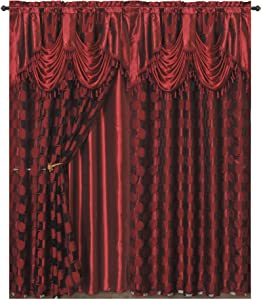 Circle Cycle. Clipped Voile. Voile Jacquard Window Curtain Drape with Attached Fancy Valance and Taffeta Backing. 2pcs Set. Each pc 54 inch Wide x 84 inch Drop + 18 inch Valance. (Wine)