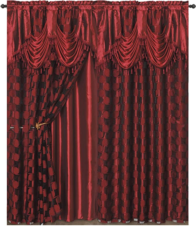 Each pc 54 wide x 84 drop 2pcs set 18 valance. CIRCLE CYCLE Clipped voile// voile jacquard window curtain panel drape with attached fancy valance /& taffeta backing COFFEE