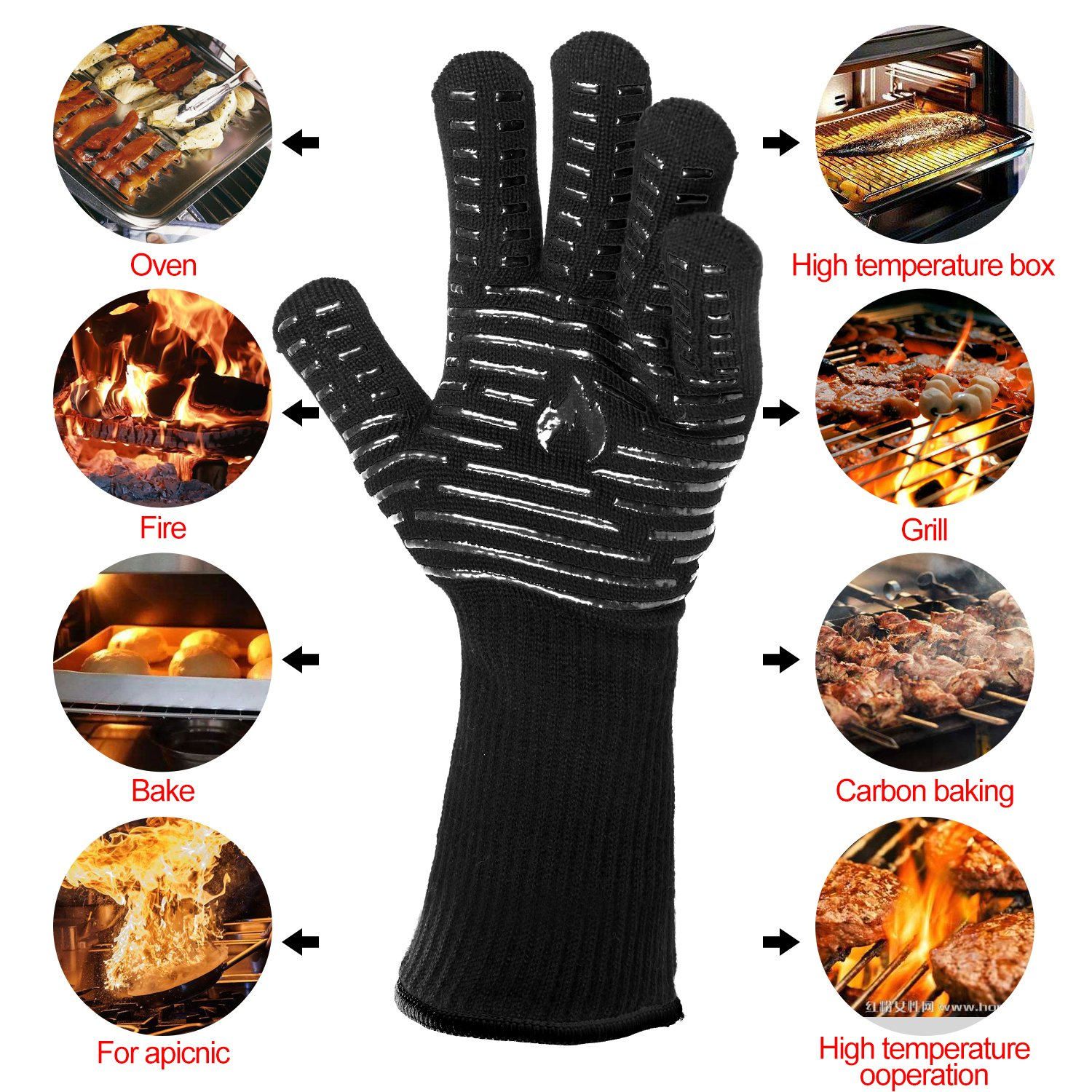 "BETLLEMORY Oven gloves,932℉ Extreme Heat Resistant BBQ Gloves Grill Gloves,13.5"" Anti-Slip Oven mitts, Durability and Stretchy Aramid Cook&Kitchen&Industrial Heat Treatment Gloves (Black)"