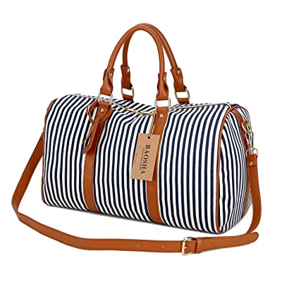 durable service BAOSHA HB-24 Ladies Women Canvas Weekender Bag Travel Duffel Tote Bag Weekend Overnight Travel Bag