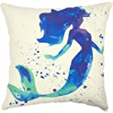 "YOUR SMILE Mermaid Cotton Linen Square Home Decorative Throw Pillow Case Cushion Cover 18 ""X18 "" (Mermaid 5)"
