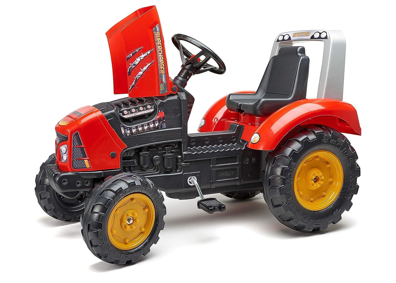 2020AB Falk Tracteur /à p/édales Supercharger Rouge avec Capot ouvrant et remorque Incluse