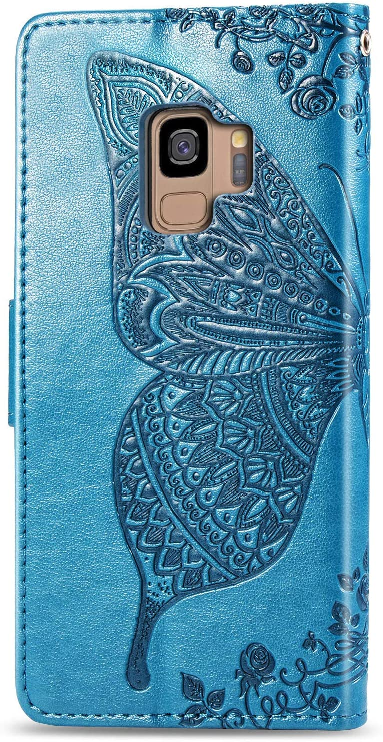 Blue Retro Flip Elegant Vintage Pressed Flower Butterfly PU Leather Protective Case With Tempered Glass Screen Protector Kickstand Fatcatparadise Compatible Samsung Galaxy S9 Case ,