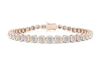 Princess Diamond 18ct Rose Gold Vermeil Tennis Bracelet (7IN - 17.78cm) 5cYh4x