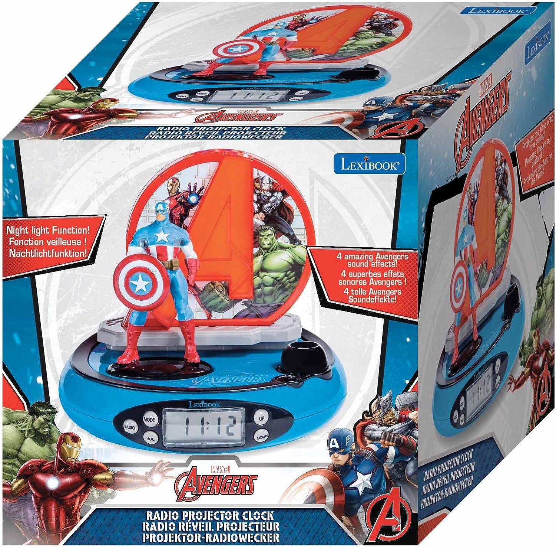 Lexibook Marvel Avengers Iron Man Radio réveil projecteur, Veilleuse intégrée, projection de l'heure au plafond, effets sonores, à piles, RougeBleu,