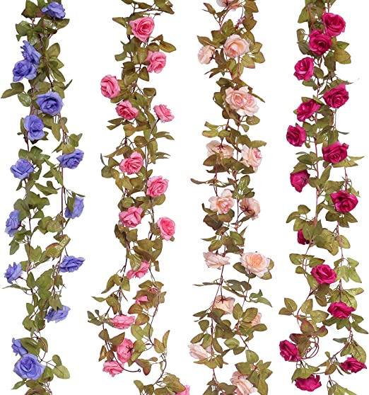 Floralgarden 4Pcs Fake Flowers Vine 7.2 FT/pc 17 Heads Silk Artificial  Roses Garland Plant for Wedding Home Garden Party Decoration