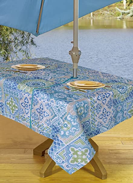 Amazon Com Texstyles Tablecloths Outdoor Tablecloth With Umbrella