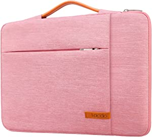 Lacdo 360° Protective Laptop Sleeve Case Computer Bag for 15.6 Inch Acer Aspire, Predator, Inspiron, ASUS ZenBook 15 VivoBook, HP Pavilion, IdeaPad 330, ThinkPad E590 Chromebook Water Repellent, Pink