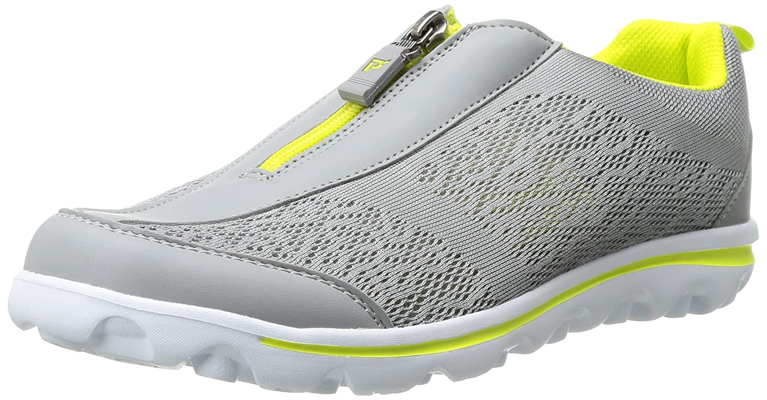 Propet Women's TravelActiv Zip Walking Shoe B01IODD7IG 7 4E US|Silver/Lime