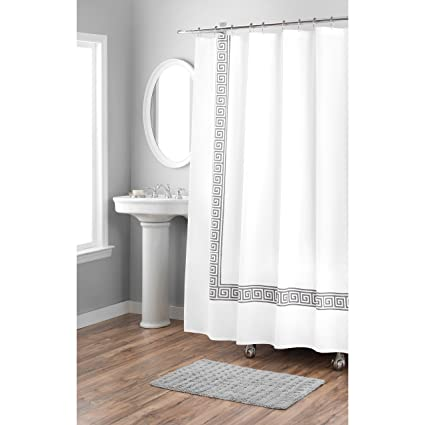 Home Dynamix Nicole Miller Greek Key 100 Cotton Fabric Shower Curtain Standard 72quot