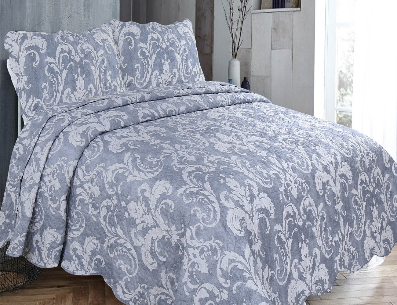 BedSpread Bed Throws Comforter set With Pillow Shams Fits Double And King Size Bed Floral Reversible Polyester Luxury , Enigma Gray De Lavish
