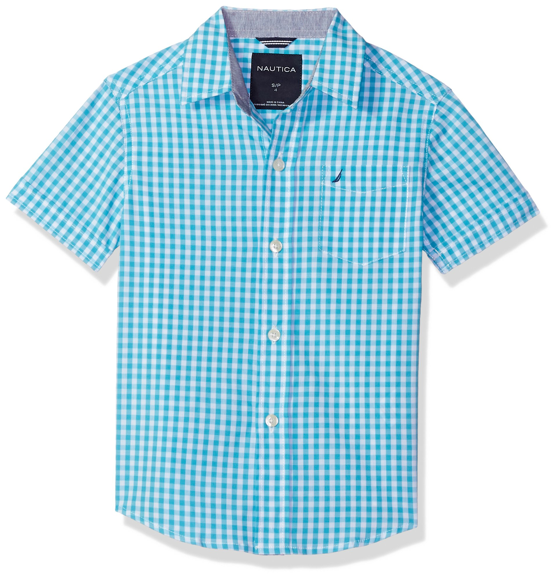 Nautica Boys' Little Short Sleeve Gingham Woven Shirt, Samuel Casper Blue 5/6