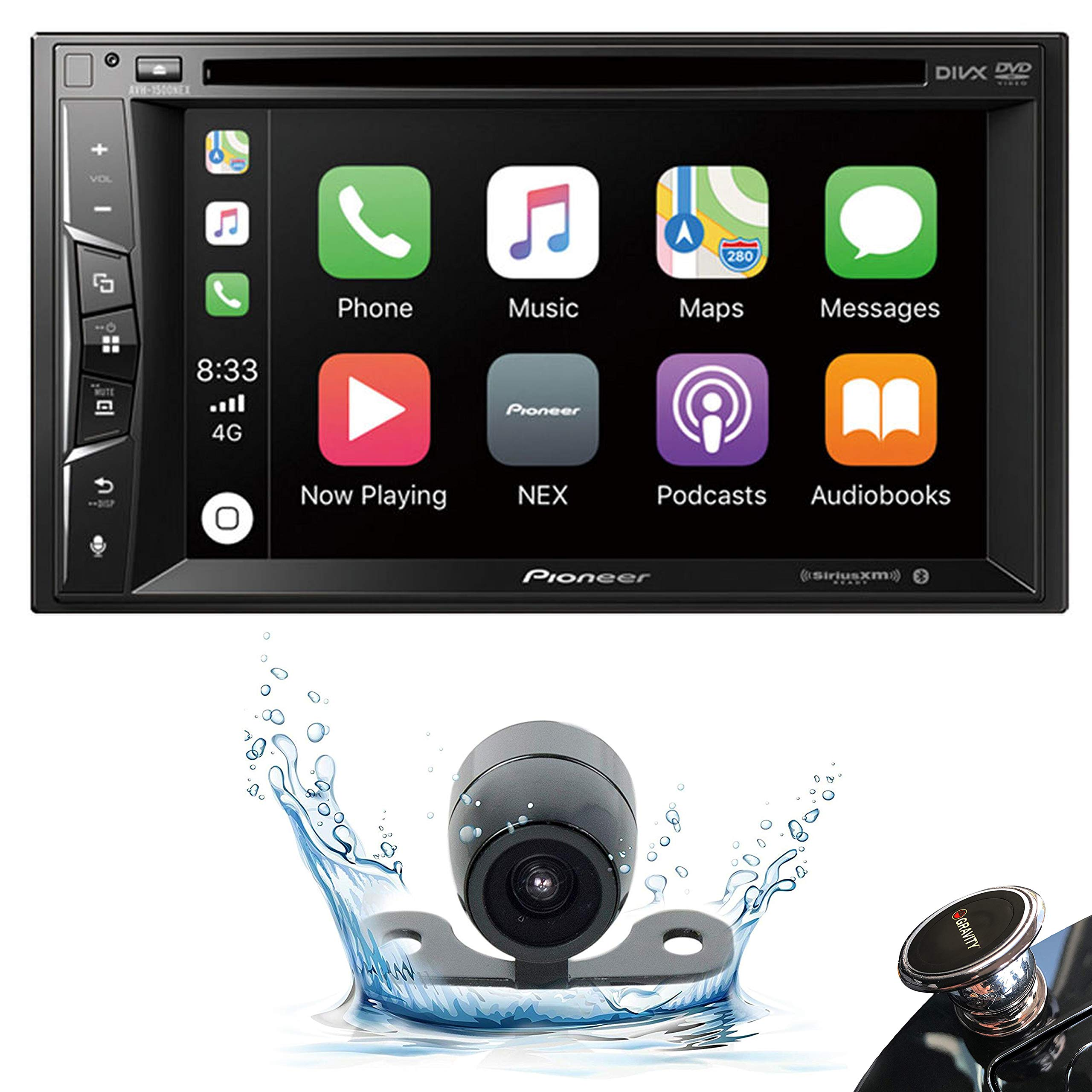 Pioneer AVH-1500NEX Double DIN Apple CarPlay in-Dash DVD/CD/AM/FM Car Stereo Receiver w/ 6.2'' Touchscreen + Backup Camera + Gravity Phone Holder by PIONEER