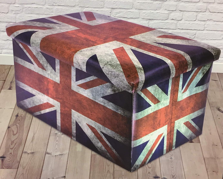 Crown Crest Large Rectangle Union Jack Ottoman Storage Box /& Lid