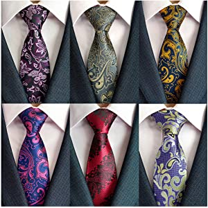 46dbad37f5d1 Adulove Men's Necktie Classic Silk Tie Woven Jacquard Neck Ties 6/9 / 12 PCS