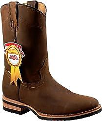 ESTABLO Mens Work Boots Genuine Leather Tan Crazy Western Cowboy Pull On 521