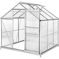 TecTake Invernadero de jardín policarbonato Transparente Aluminio casero