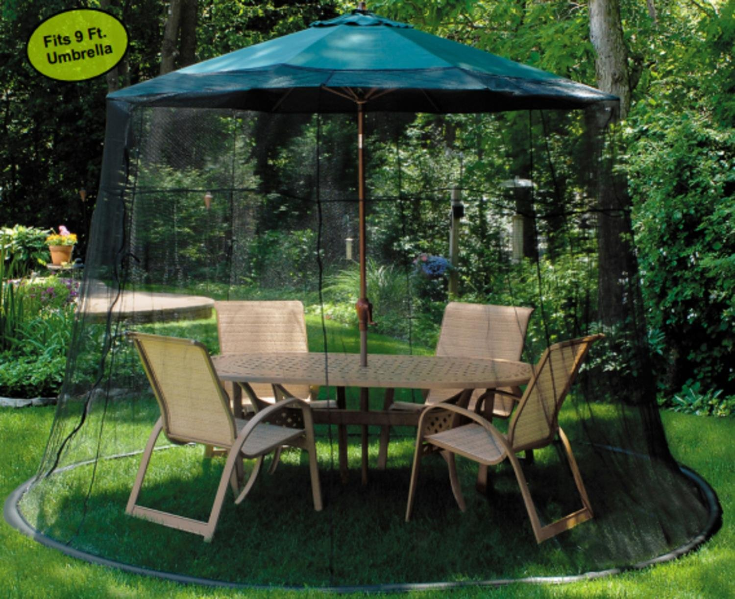 Amazon.com: LB International Mesh Mosquito Net Enclosure   Fits Over A 9u0027  Patio Umbrella: Garden U0026 Outdoor