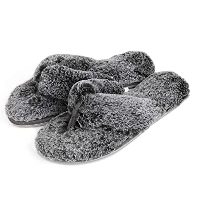 RockDove Women's Fuzzy Fur Thong Slippers with Memory Foam | Slippers