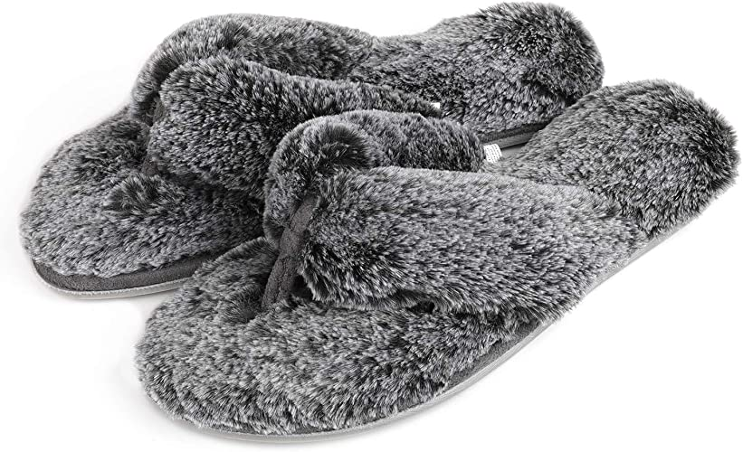Roxoni Fuzzy House Slippers for Women Cozy Slip On Flip Flops Comfortable Furry Spa Thongs Soft Insole /& Rubber Outsole