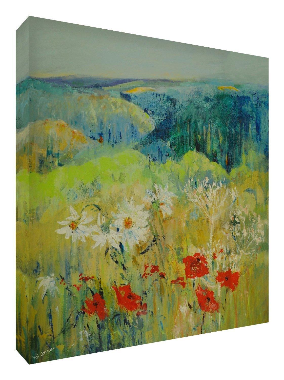 Feel Good Art Leinwand leuchtenden Farben gehören des Künstlers Val Johnson Englisch Countryside 96x 96x 4cm Größe XXL