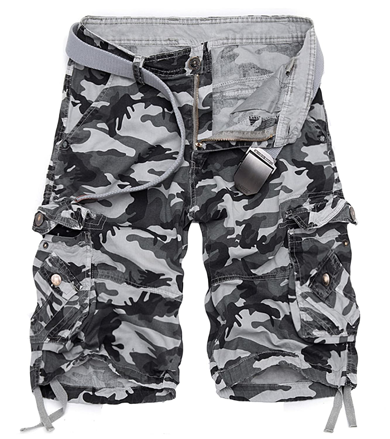 DONSON Mens Camo Cargo Shorts Multi-Pocket Camouflage Relaxed Fit Shorts