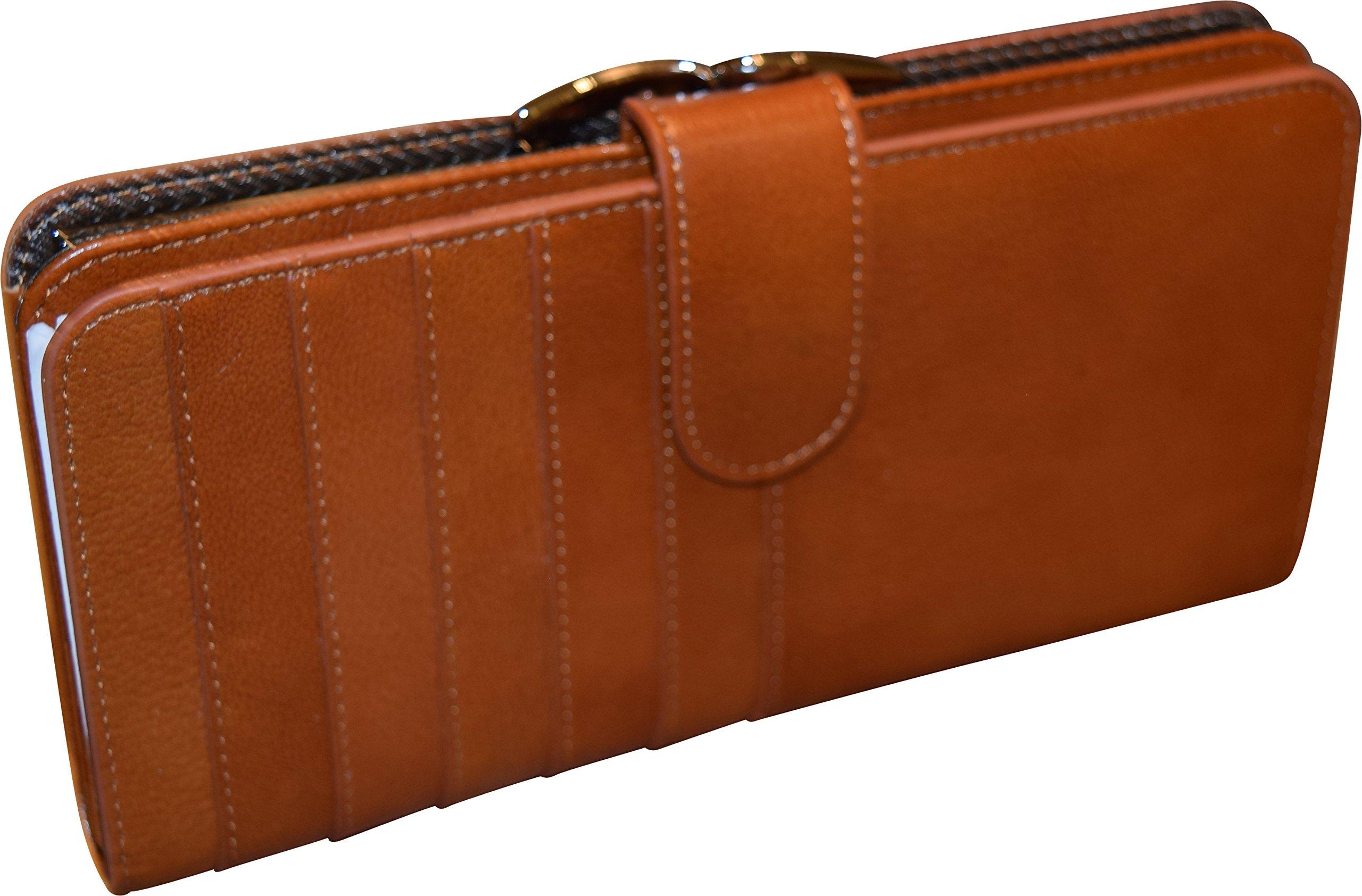 Genuine Top Grain Leather Women's Flap Wallet - Credit Card Clutch (Tan W/ Frame)