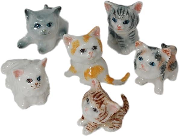 6 dibujos animados gatos gato Pottery de cerámica hecha a mano animal en miniatura figura decorativa (0.5: Amazon.es: Hogar