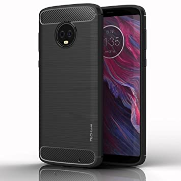 low priced d15f4 7931e TECHGEAR Moto G6 Plus Case - [Stealth Case] Flexible, Shockproof, Slim Fit,  Soft TPU Protective Shell Cover with Carbon Fibre Design Compatible with ...