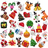 30pcs Mini Christmas Ornaments Tree Decorations, Small Christmas Tree Ornaments with Santa Claus, Snowman, Reindeer and More
