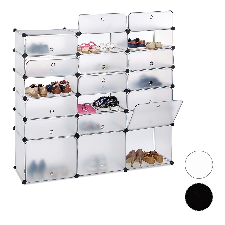 Relaxdays Schuhregal Kunststoff, 18 Fächer mit Türen, DIY Regalsystem, 36 Paar Schuhe, HBT  125x140x36 cm, transparent
