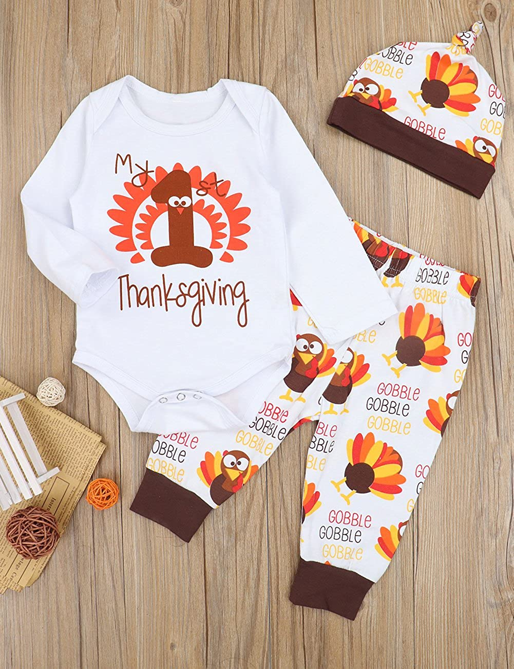 35ade38aa Amazon.com: 3PCs My First Thanksgiving Outfits Newborn Baby Boy Girl  Clothes Thanksgiving Romper, Turkey Pants + Hat Onesies Set: Clothing