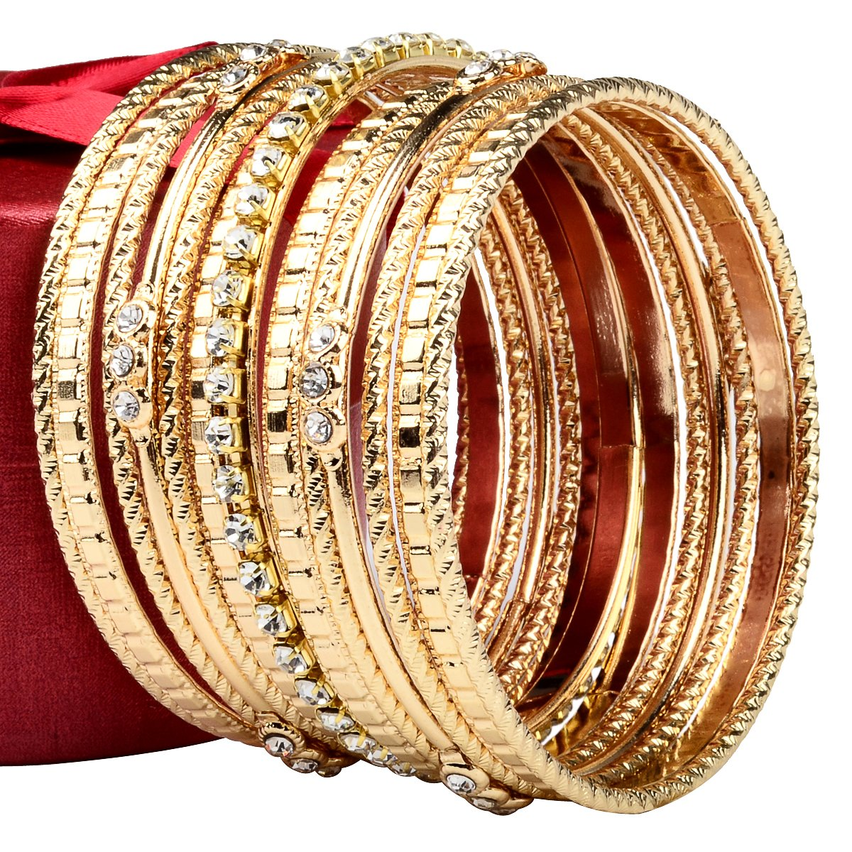 Stainless Steel High Polished Gold 13- Pieces Stackable Bangle Bracelet for Women