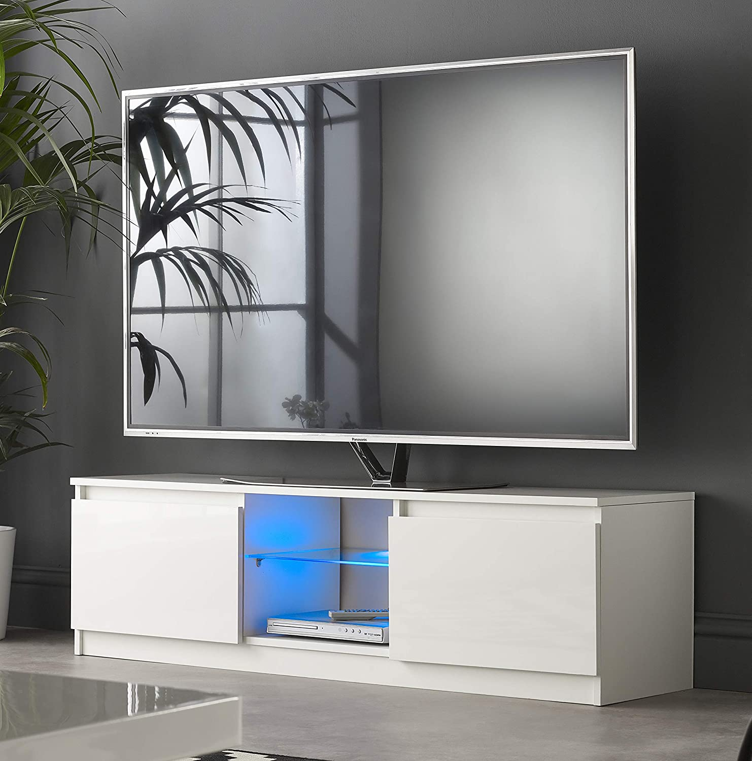 Mmt Rtv1400 White Tv Stand Cabinet Unit With Led Lights 40 59 50 55 60 65 Inch 4k Tv 140cm Wide Amazon Co Uk Tv