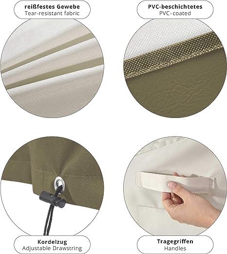 127 L 66 cm Oxford 600D 280 g//m/² Beige l Lumaland Telo Copertura di Protezione per mobili da Giardino Impermeabile Tavolo da Pranzo Quadrato Tavolo da Giardino 67,3 cm H cm